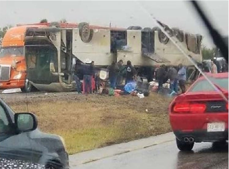 Bus rollover accident