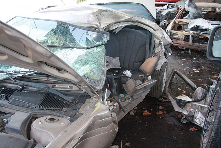 Vilma Marencos car after she was hit by an uninsured trucker